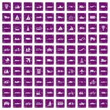 100 transportation icons set grunge purple. 100 transportation icons set in grunge style purple color isolated on white background vector illustration Royalty Free Stock Photo