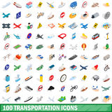 100 transportation icons set, isometric 3d style. 100 transportation icons set in isometric 3d style for any design vector illustration Stock Photos