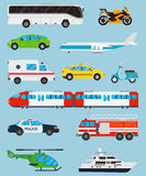 Transportation icons set. Municipal and Travel transport. Public transport. Flat design style. Vector Royalty Free Stock Photos