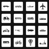 Transportation icons set squares vector. Transportation icons set in white squares on black background simple style vector illustration Stock Photography