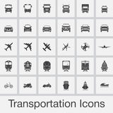 Transportation icons set vector isolated on grey background Stock Photography