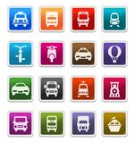 Transportation Icons - sticker series. Transportation Sticker Icons isolated over white background - sticker series vector illustration