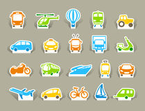 Transportation Icons on stickers Stock Images
