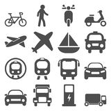 Transportation travels icons set. Transportation icons travels set flat illustration EPS 10 Stock Images