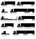 Transportation icons - trucks. Set of 10 black transportation icons isolated on white background Stock Images