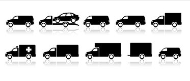 Transportation icons - trucks & vans Stock Photography