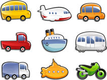 Transportation icons. Vector illustration Cartoon Royalty Free Stock Photography
