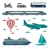 Transportation icons. Vector set of different means of transport Stock Photo