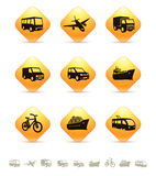Transportation icons on yellow buttons Royalty Free Stock Images