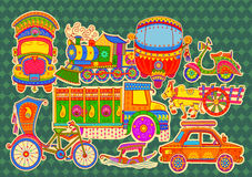 Transportation of India. Vector design of transportation of India in Indian art style royalty free illustration