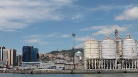 Transportation industry, cargo and shipping, harbor in Italy, Genoa. stock video