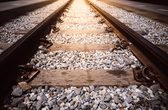 Transportation industry concept background: Railroad in motion Royalty Free Stock Photo