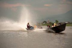 Transportation in Inle lake,Myanmar. Royalty Free Stock Images