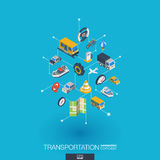 Transportation integrated 3d web icons. Digital network isometric concept. Stock Image