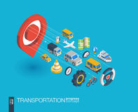 Transportation integrated 3d web icons. Growth and progress concept Stock Photo
