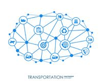 Transportation integrated interact concept. Connected graphic design dot and line system. Abstract background for. Traffic, navigation service. Vector Infograph royalty free illustration