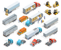Transportation Isometric Elements Set. With loaded and empty trucks trailers boxes forklifts and workers isolated vector illustration Royalty Free Stock Photo