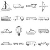 Transportation items icons set, outline style Stock Photos