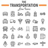 Transportation line icon set, transport symbols Royalty Free Stock Image