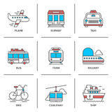 Transportation line icons set Stock Photo