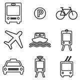 Transportation line icons set.  Public transport vector symbols Stock Image