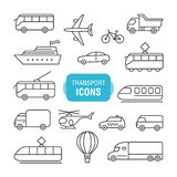 Transportation line icons set Stock Photography