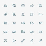 25 transportation line icons Stock Photo