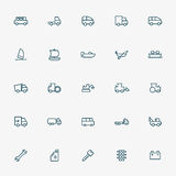 25 transportation line icons Royalty Free Stock Photography