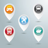 Transportation Location Markers. Marker with button on the grey background Royalty Free Stock Photo