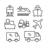 Transportation logistic icon set. Delivery vehicles icons. Ship, train, van, truck, forklift and airplane icons Stock Images