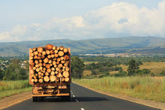 Transportation of Logs. Truck transports logs down highway in Africa Royalty Free Stock Image