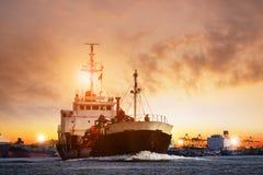 Transportation of lpg gas tanker ship against beautiful  sky Stock Photos
