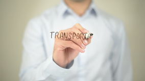 Transportation Management, Man Writing on Transparent Screen stock footage