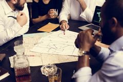 Transportation map planning meeting team stock image