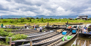 Transportation and material transport of Intha monority people b Stock Photography