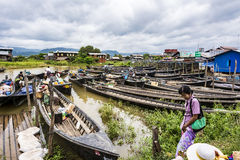 Transportation and material transport of Intha monority people b Stock Photo