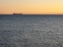 Cargo ship going upstream in the St. Lawrence Estuary in Canada royalty free stock photography