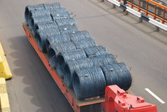 Transportation of metal products. On road Stock Image
