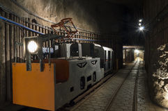 Transportation for miners in salt mine Royalty Free Stock Photos