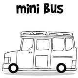 Transportation of mini bus hand draw Stock Photography