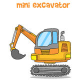 Transportation of mini excavator vector Royalty Free Stock Photography