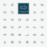 32 transportation minimal line icons Stock Image