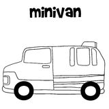 Transportation of minivan hand draw Stock Image