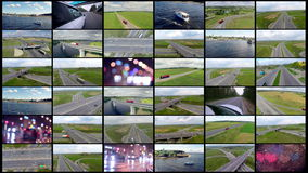 Transportation montage. Aerial traffic, cargo, delivery transportation background for your video. stock footage