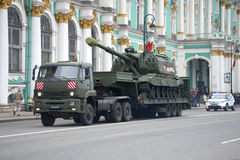 Transportation of the Msta-S self-propelled artillery vehicle by Kamaz-65225 truck. Preparations for the parade in honor of Victor Royalty Free Stock Images
