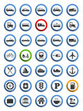 Transportation, Nautical and Travel Icons Stock Image