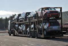 Transportation of new cars. On the truck Royalty Free Stock Image