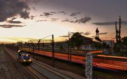Transportation by night. Gdansk train transportation - evening landscape Stock Image