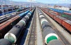 Transportation of oil and coal. Railroad. Transportation of oil and coal. Russia Stock Photos