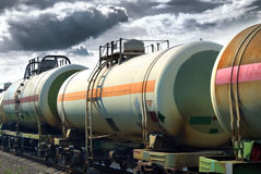 Transportation oil tanks by rail Royalty Free Stock Image